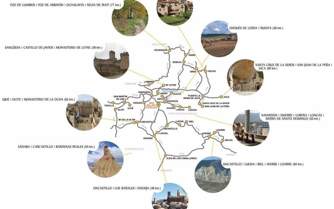 """Mapa """"que ver"""" entorno a Sos del rey católico"""